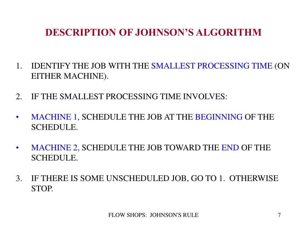 DESCRIPTION OF JOHNSON'S ALGORITHM