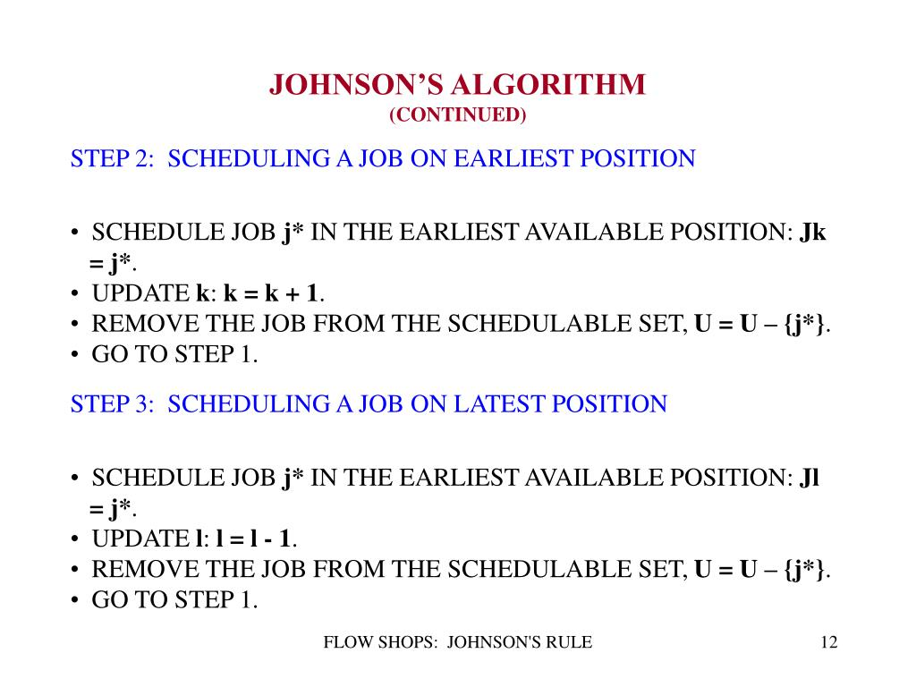 STEP 2:  SCHEDULING A JOB ON EARLIEST POSITION