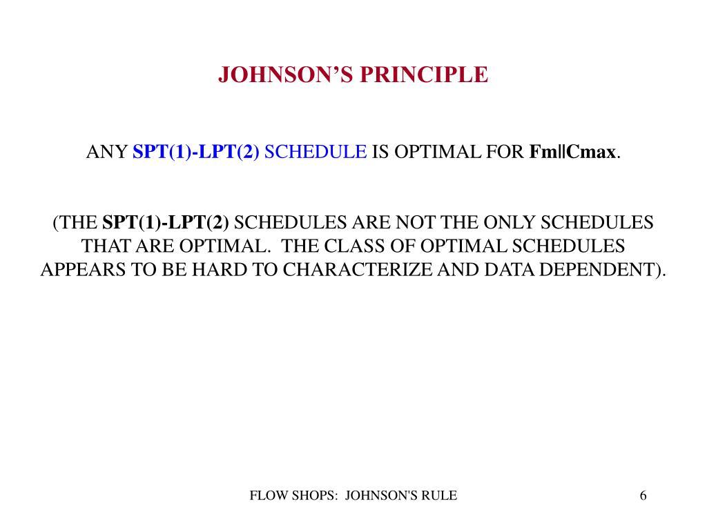 JOHNSON'S PRINCIPLE