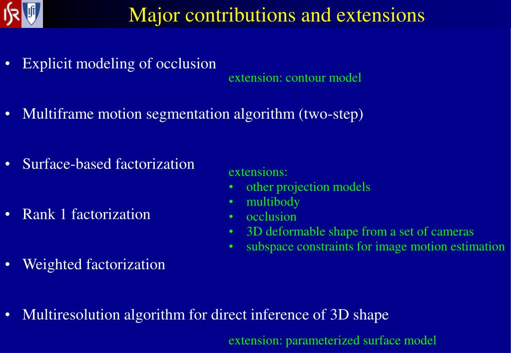 Major contributions and extensions