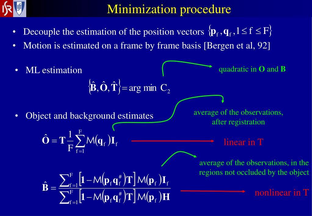 Minimization procedure