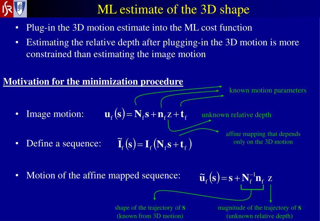 ML estimate of the 3D shape