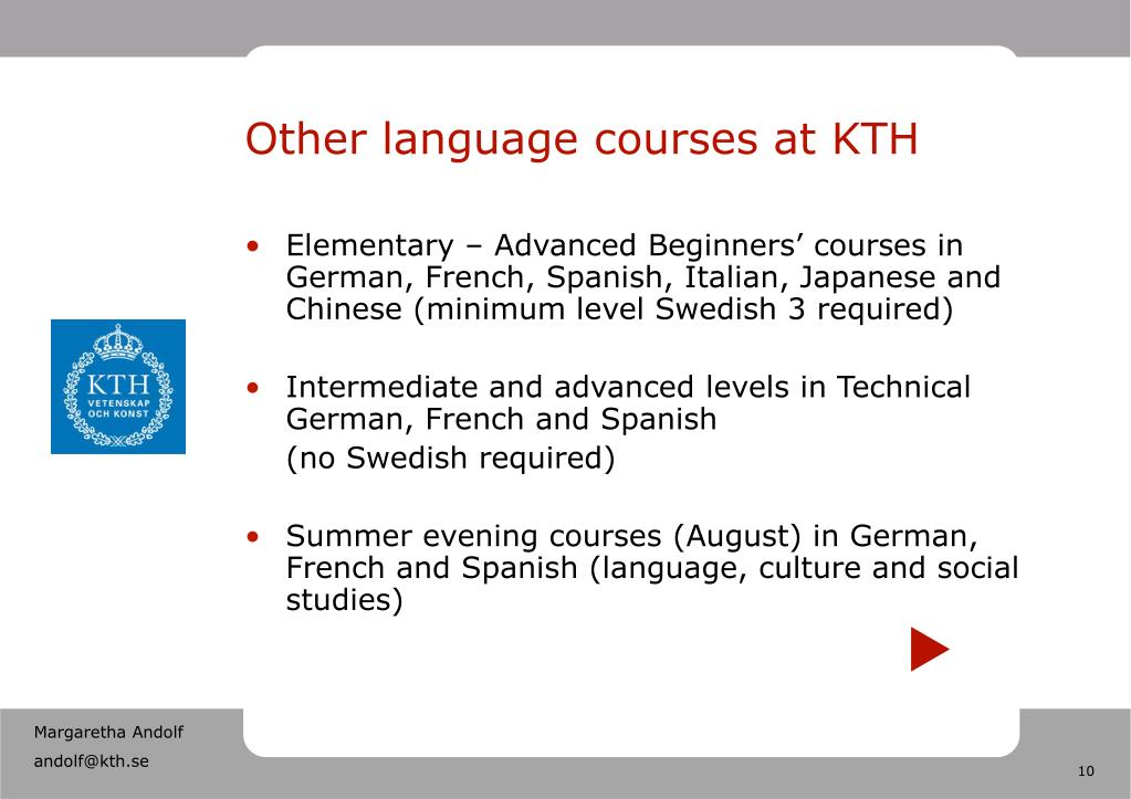 Other language courses at KTH