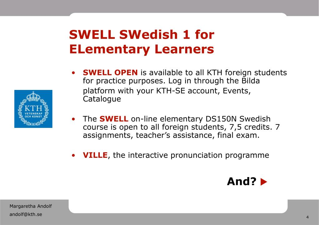 SWELL SWedish 1 for ELementary Learners