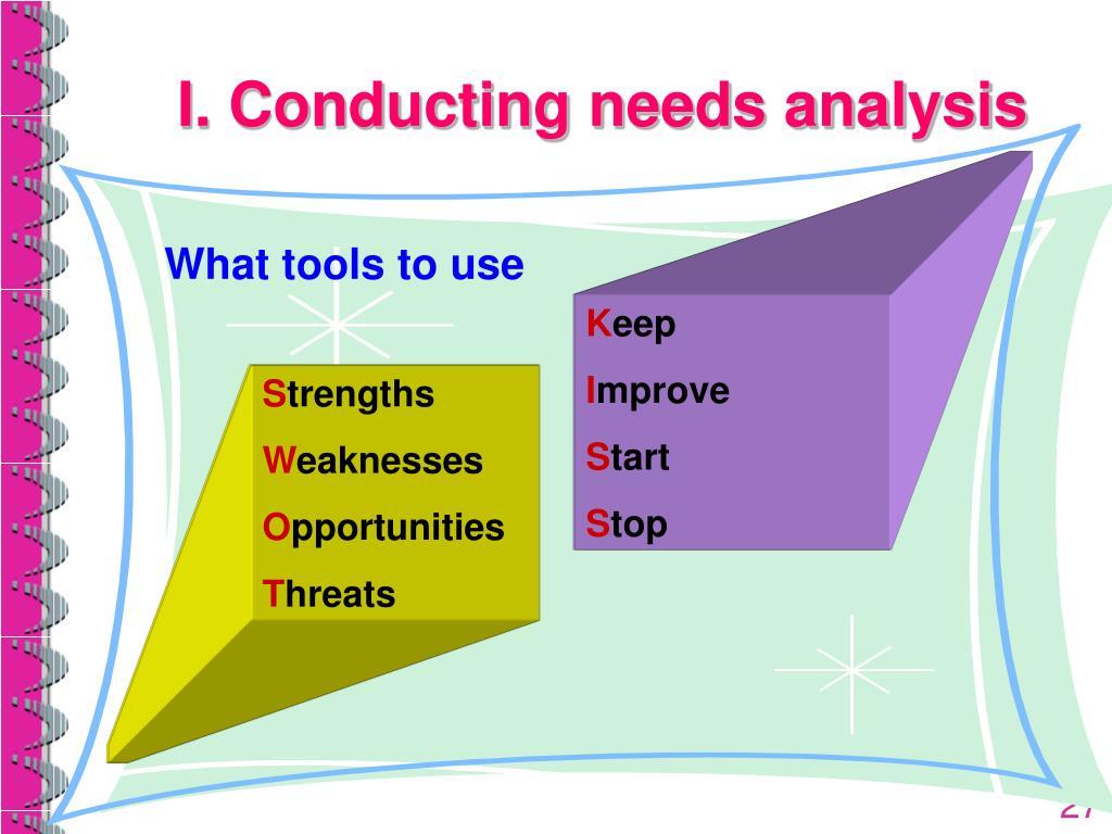 I. Conducting needs analysis