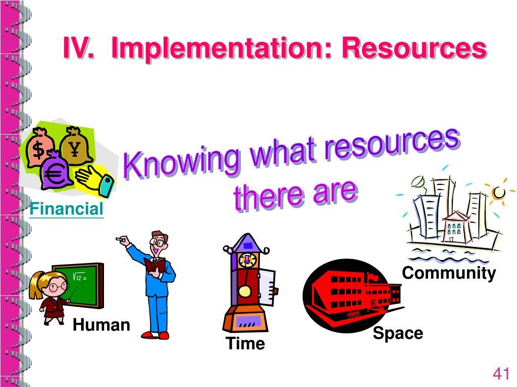 IV.  Implementation: Resources