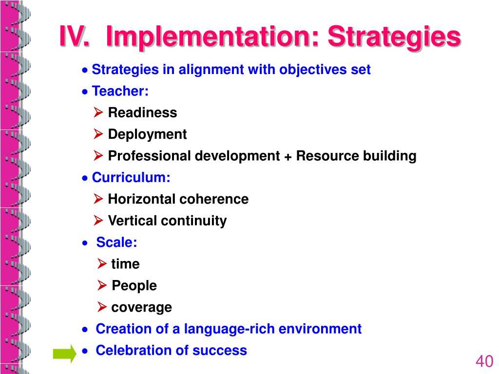 IV.  Implementation: Strategies