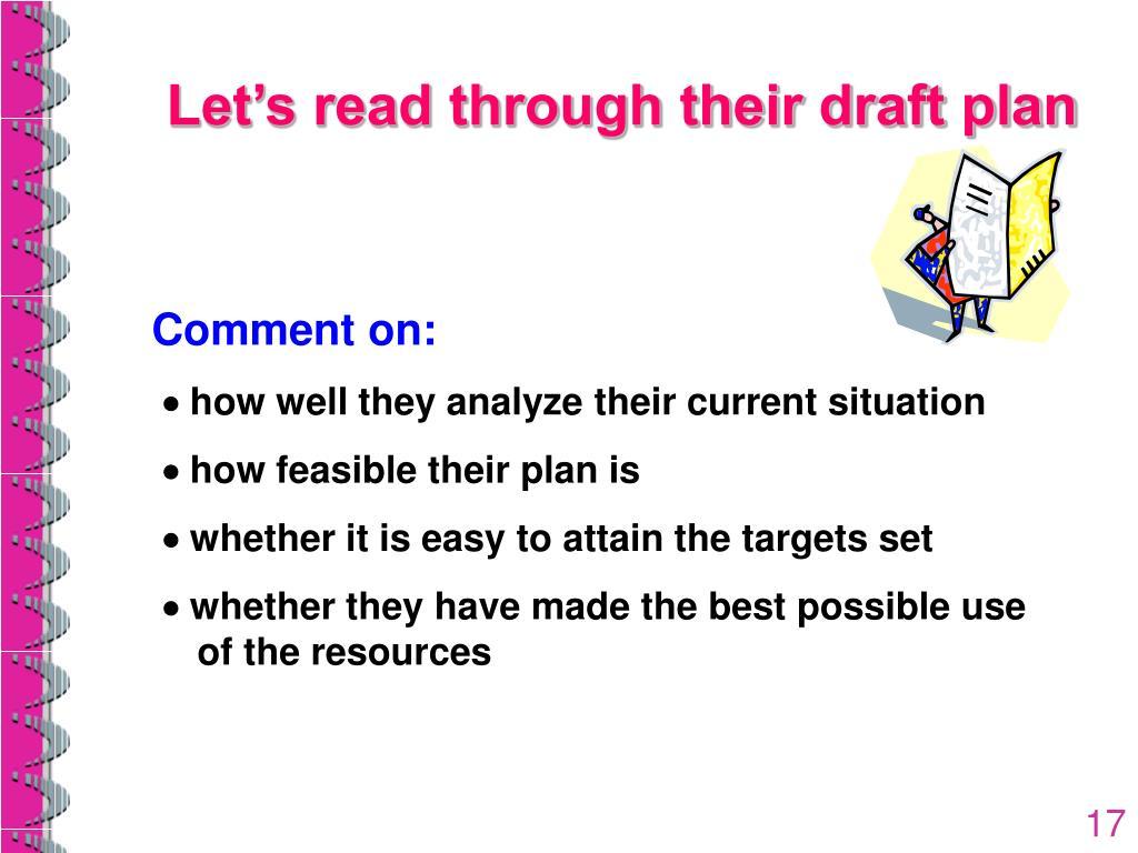 Let's read through their draft plan