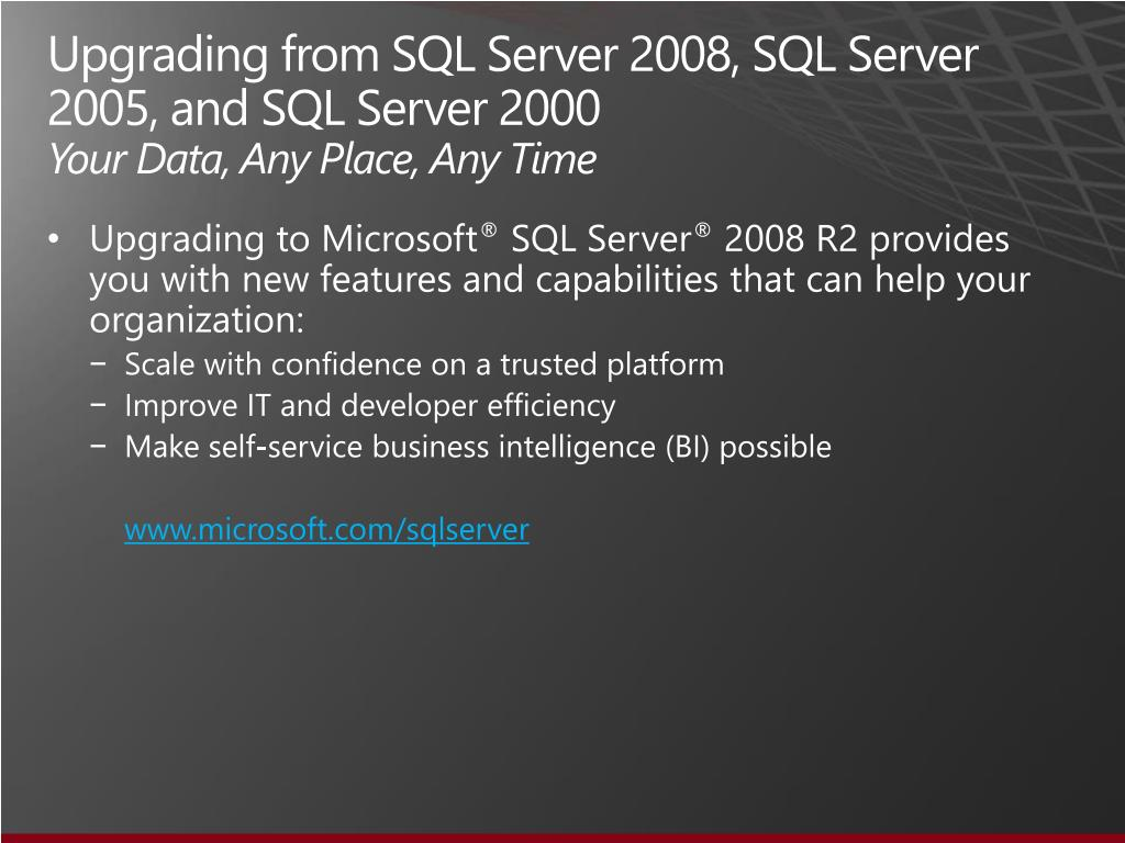 Upgrading from SQL Server 2008, SQL Server 2005, and SQL Server
