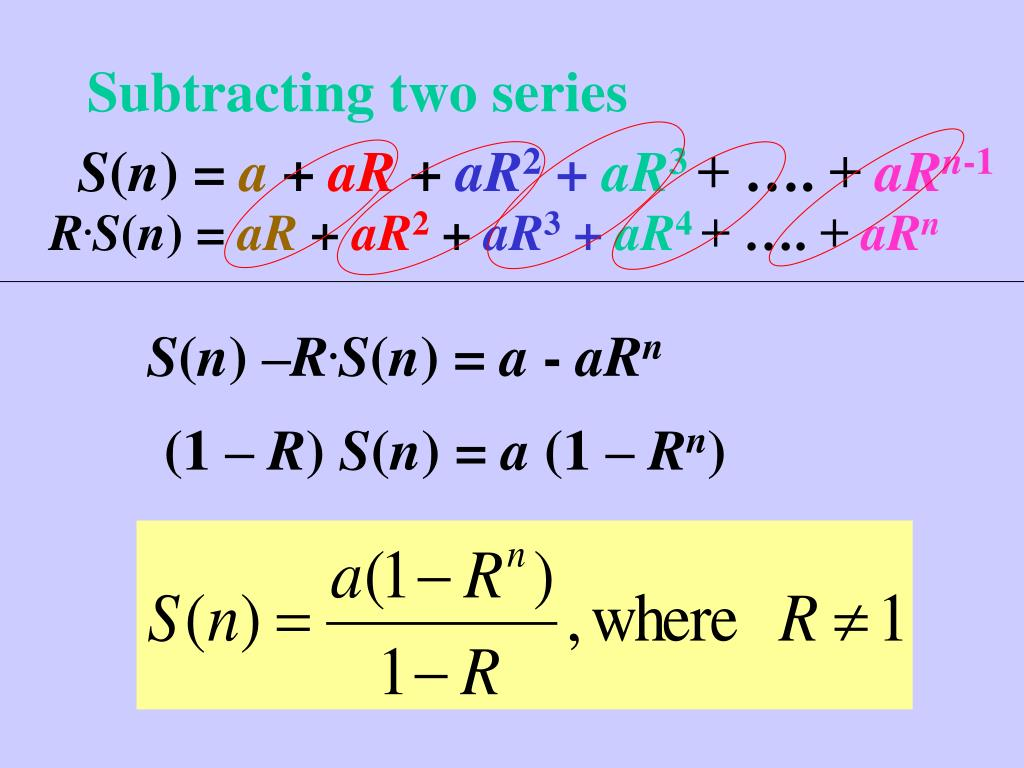 Subtracting two series