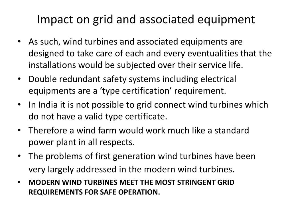 Impact on grid and associated equipment