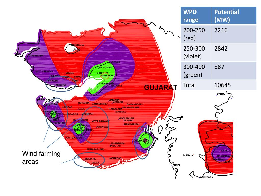 Wind farming areas