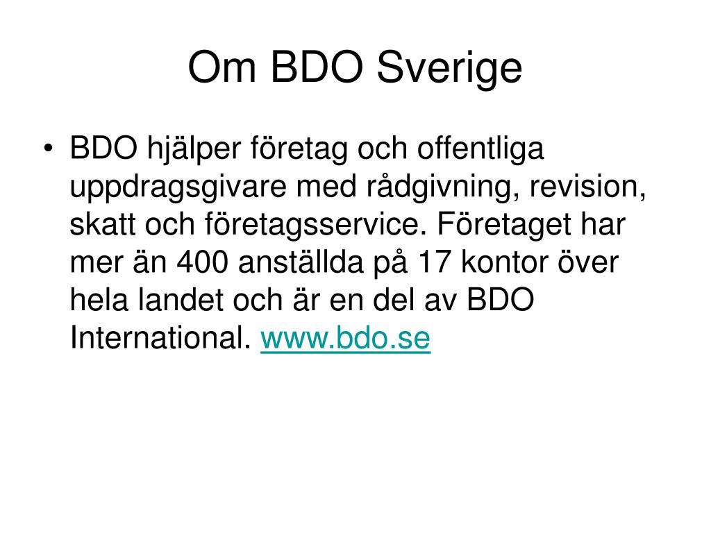 Om BDO Sverige