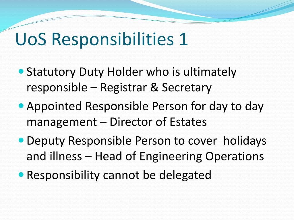 UoS Responsibilities 1