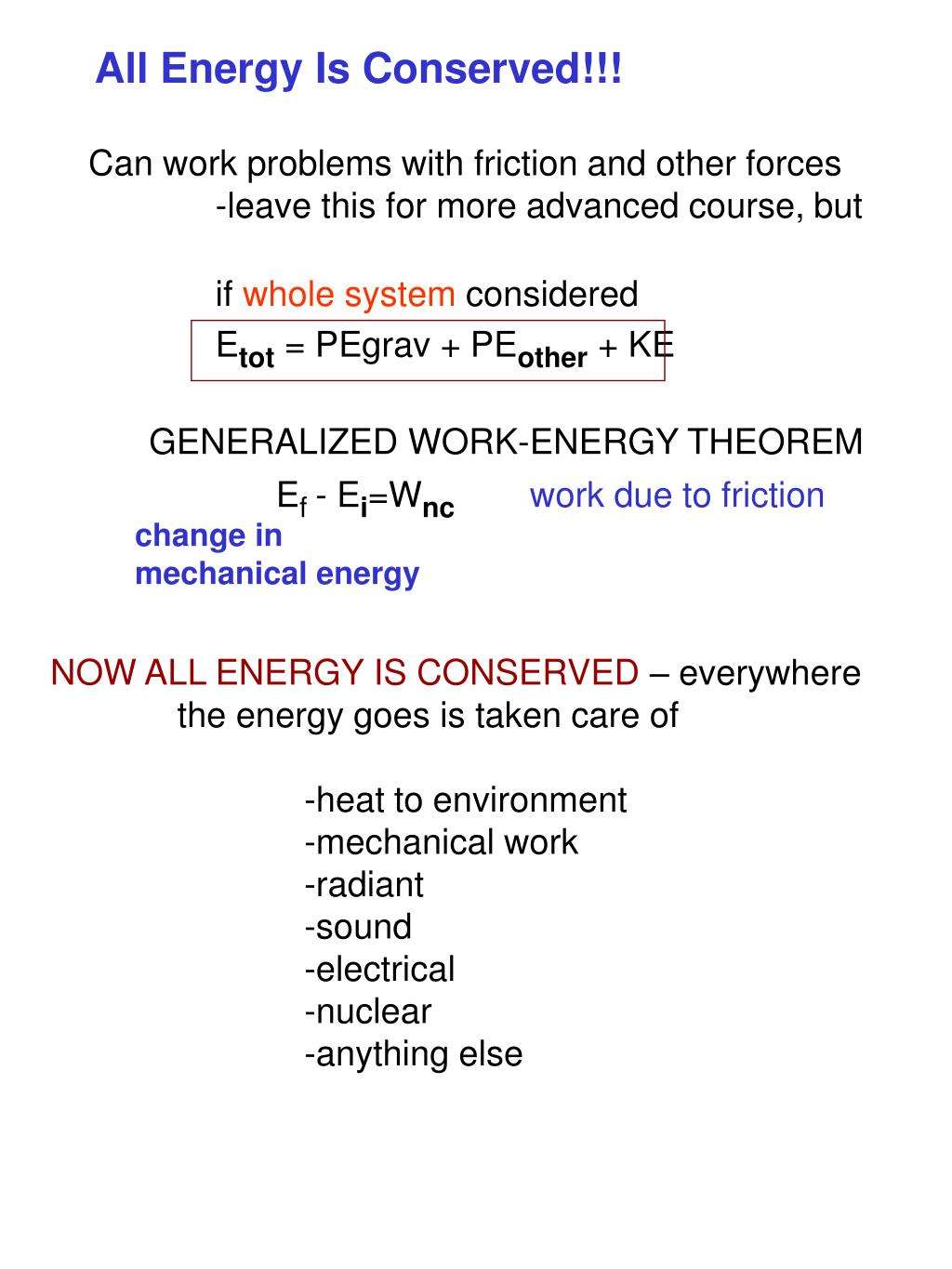 All Energy Is Conserved!!!