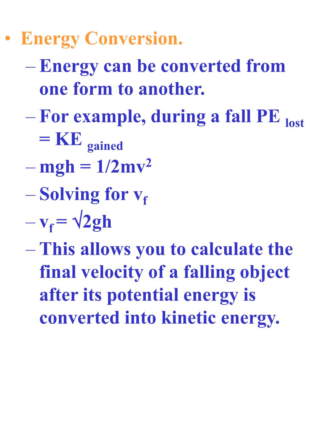 Energy Conversion.