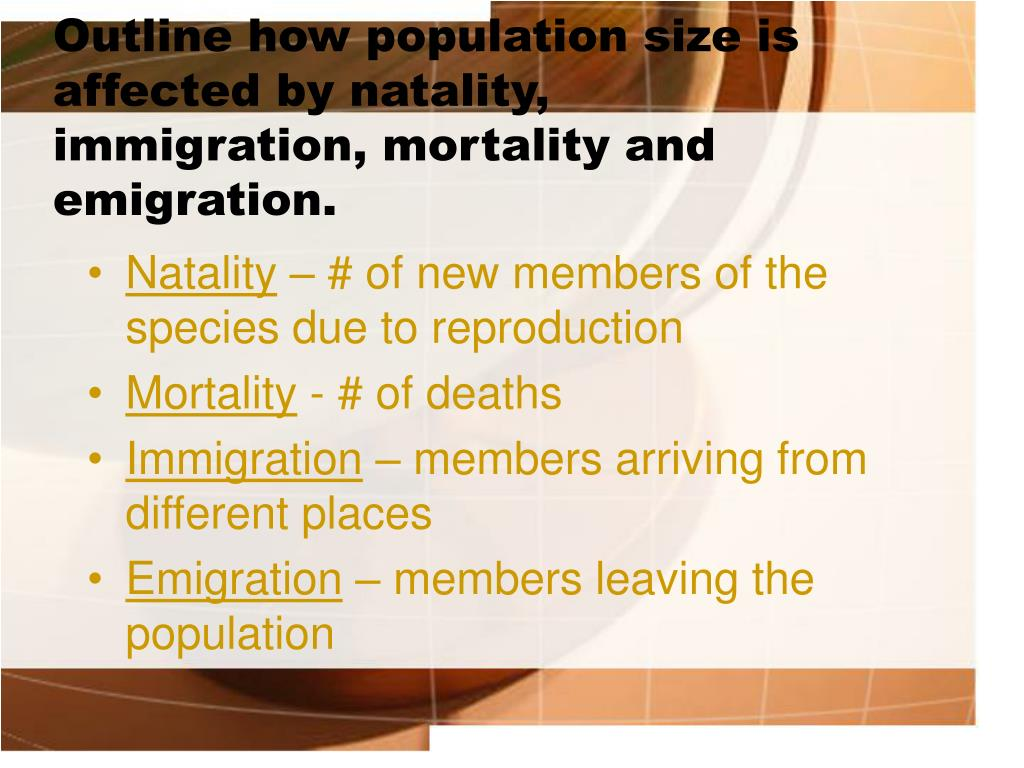 Outline how population size is affected by natality, immigration, mortality and emigration.
