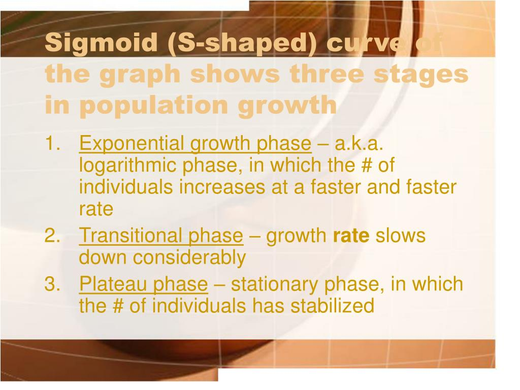 Sigmoid (S-shaped) curve of the graph shows three stages in population growth