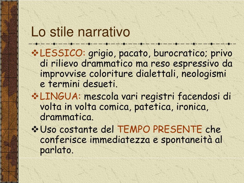 Lo stile narrativo