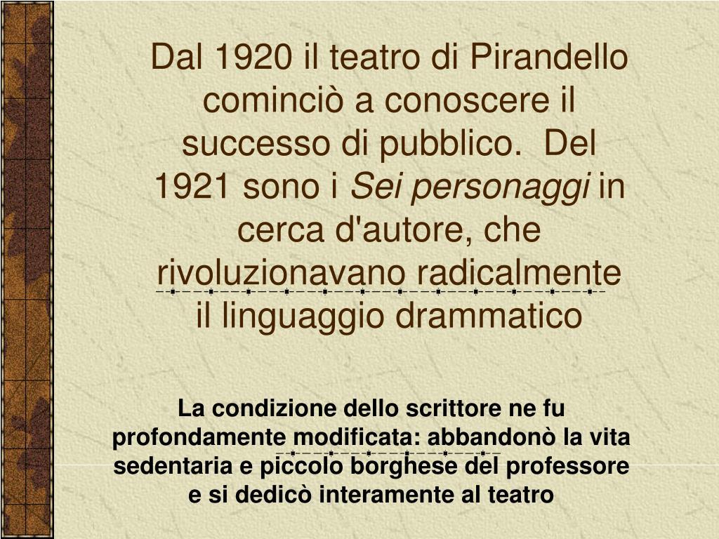 Dal 1920 il teatro di Pirandello cominciò a conoscere il successo di pubblico.  Del 1921 sono i