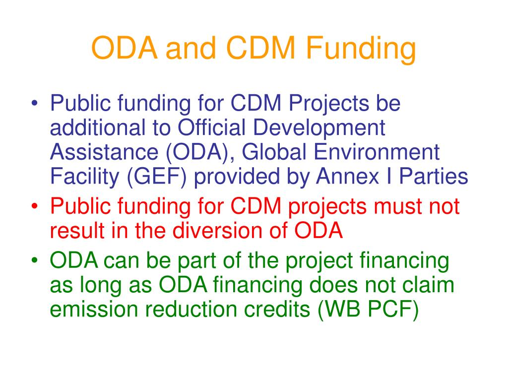 ODA and CDM Funding