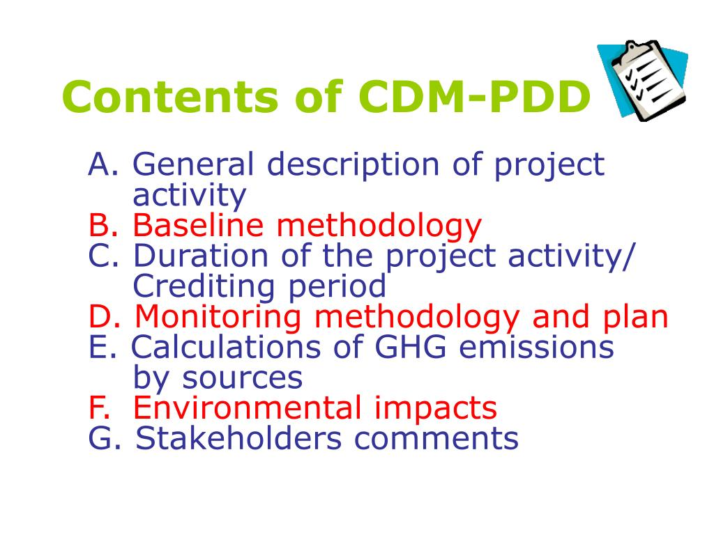 Contents of CDM-PDD