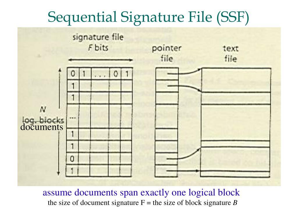 Sequential Signature File (SSF)