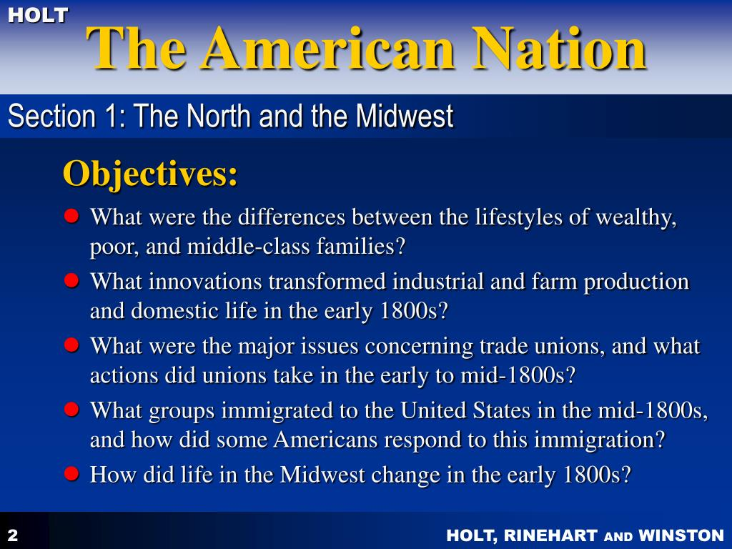 Section 1: The North and the Midwest