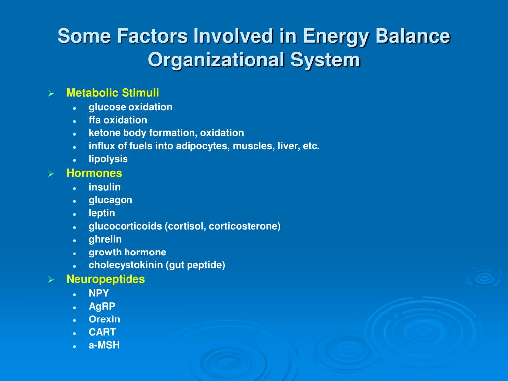 Some Factors Involved in Energy Balance