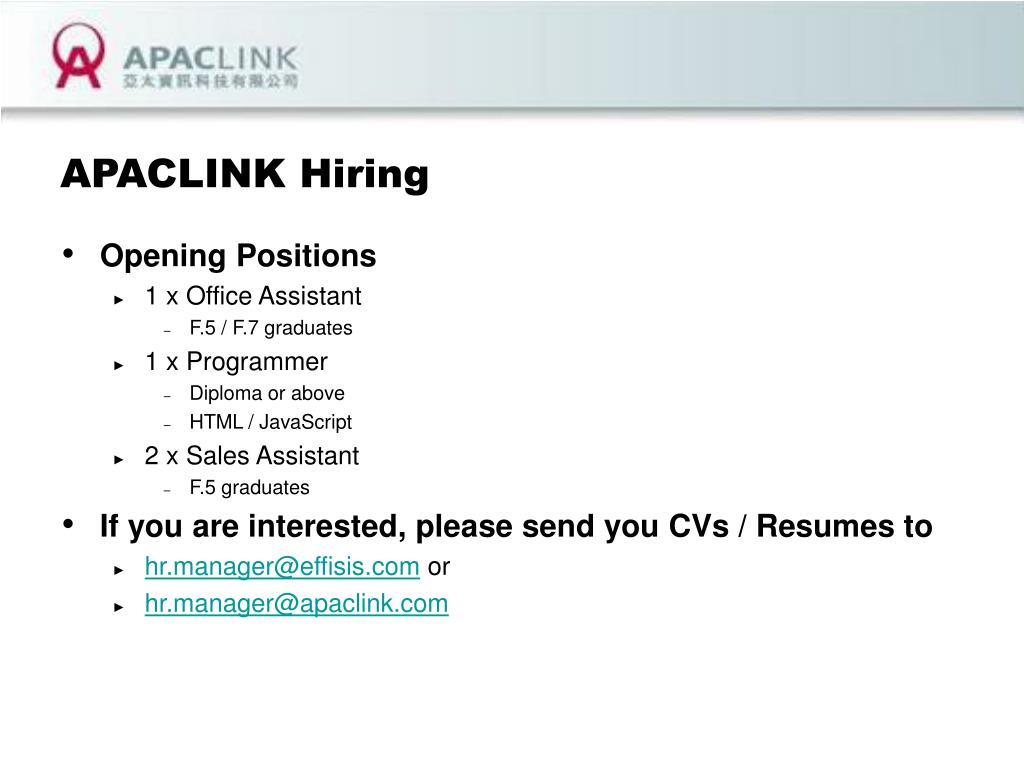 APACLINK Hiring