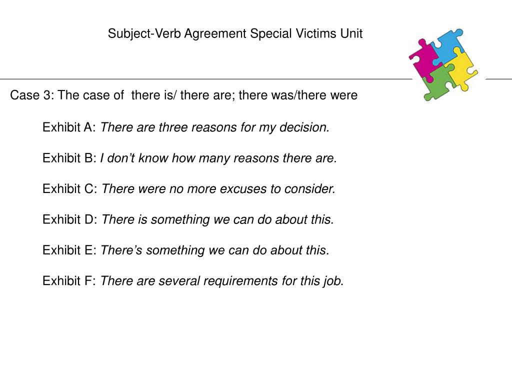 Subject-Verb Agreement Special Victims Unit