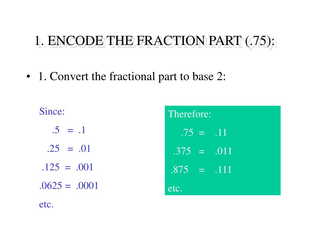1. ENCODE THE FRACTION PART (.75):