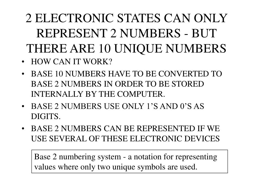 2 ELECTRONIC STATES CAN ONLY REPRESENT 2 NUMBERS - BUT THERE ARE 10 UNIQUE NUMBERS