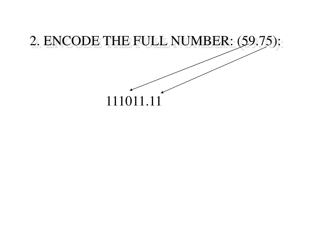 2. ENCODE THE FULL NUMBER: (59.75):