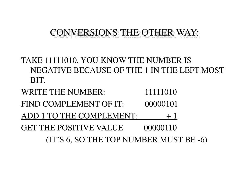 CONVERSIONS THE OTHER WAY: