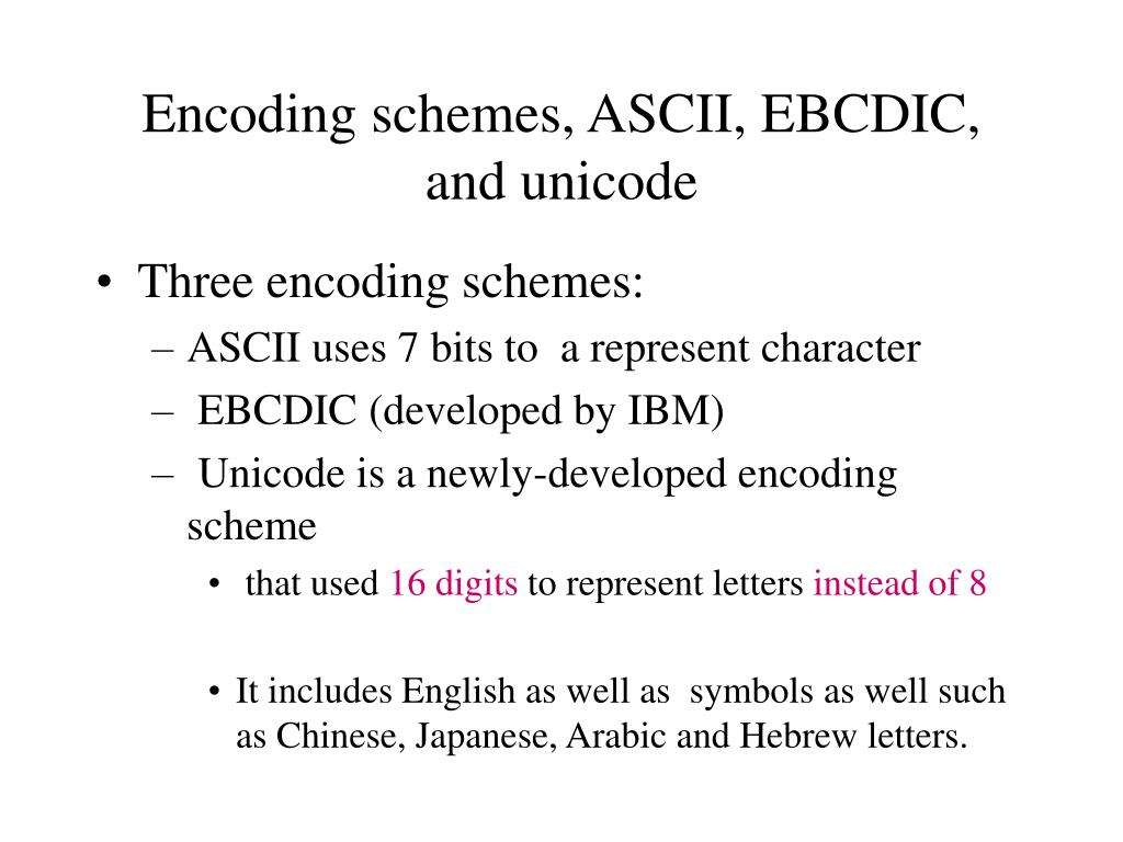 Encoding schemes, ASCII, EBCDIC, and unicode