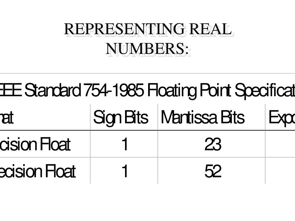 REPRESENTING REAL NUMBERS: