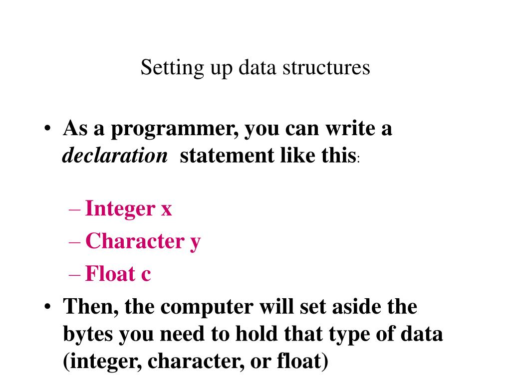 Setting up data structures