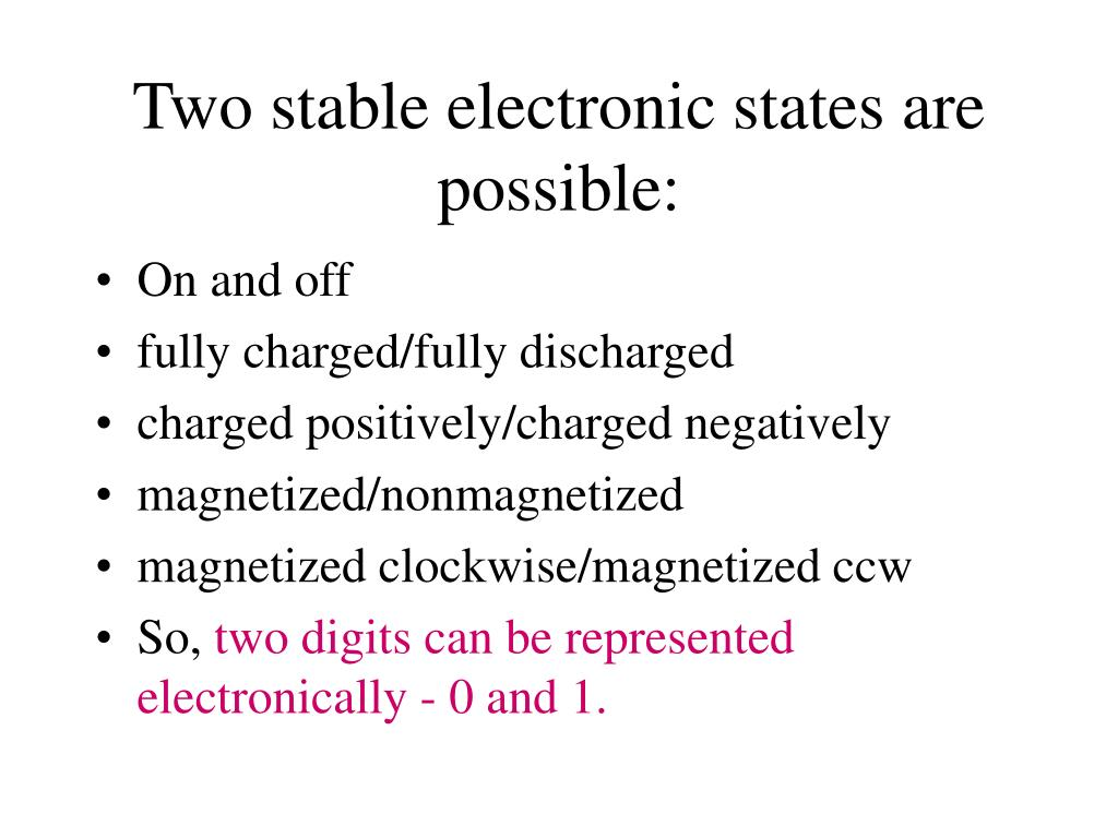 Two stable electronic states are possible: