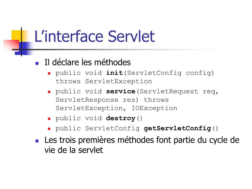 L'interface Servlet