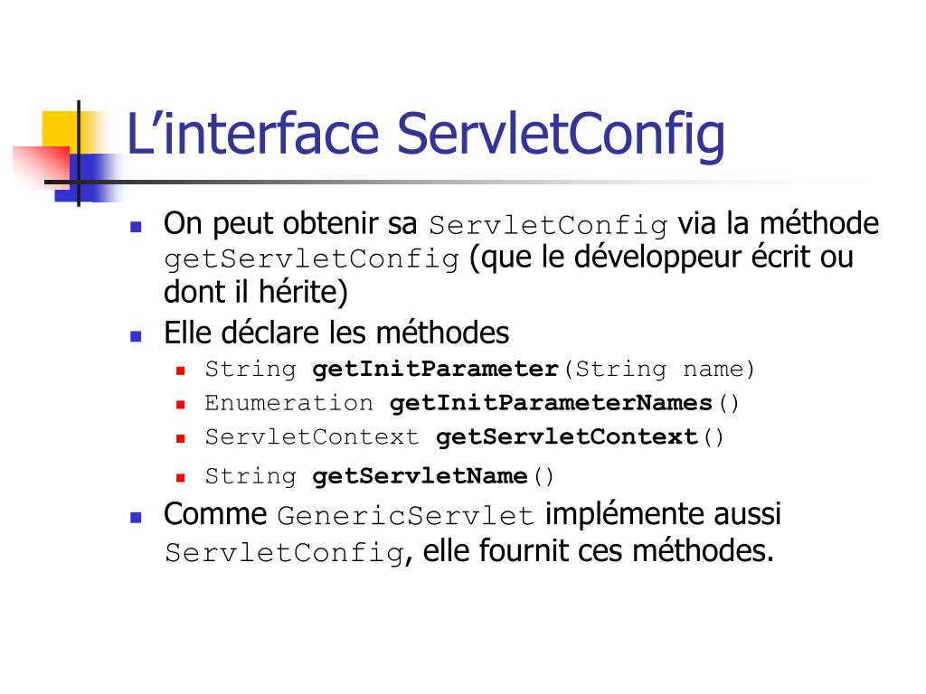 L'interface ServletConfig