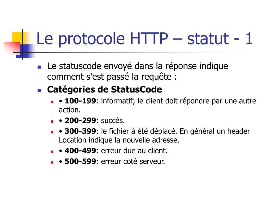 Le protocole HTTP – statut - 1