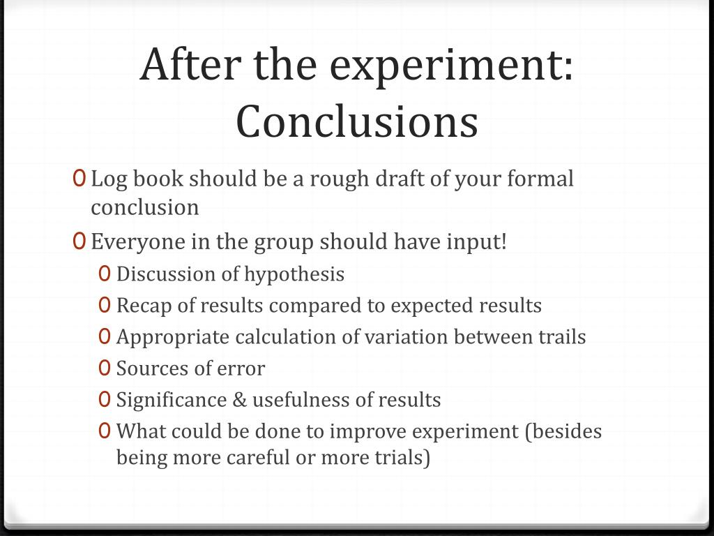 After the experiment:
