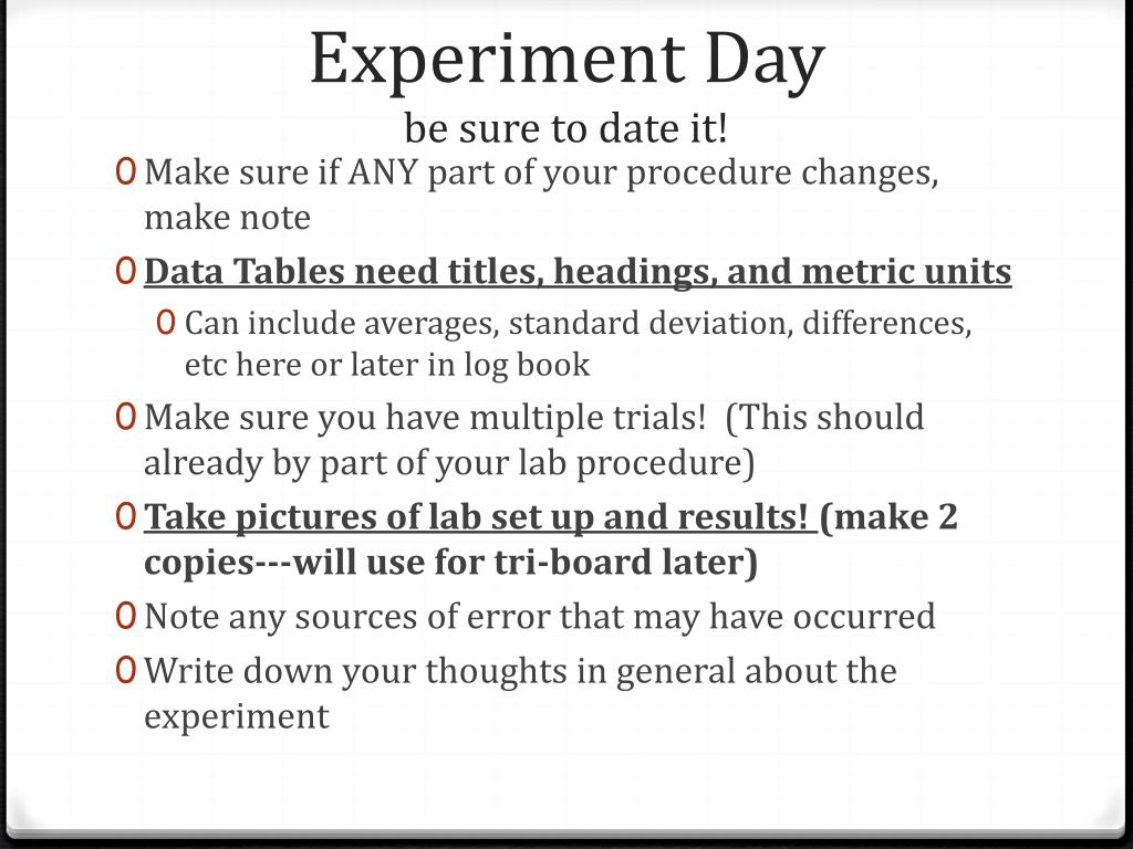 Experiment Day