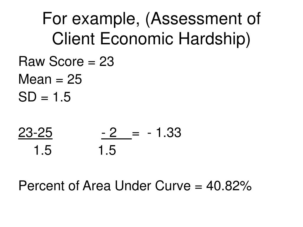 For example, (Assessment of Client Economic Hardship)
