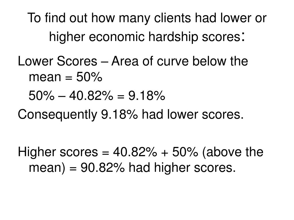 To find out how many clients had lower or higher economic hardship scores