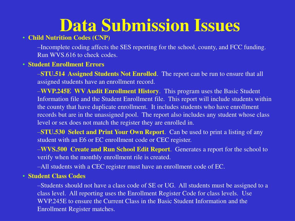Data Submission Issues