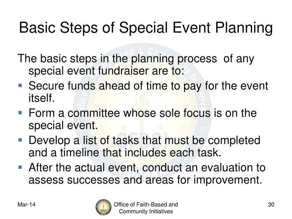 Basic Steps of Special Event Planning