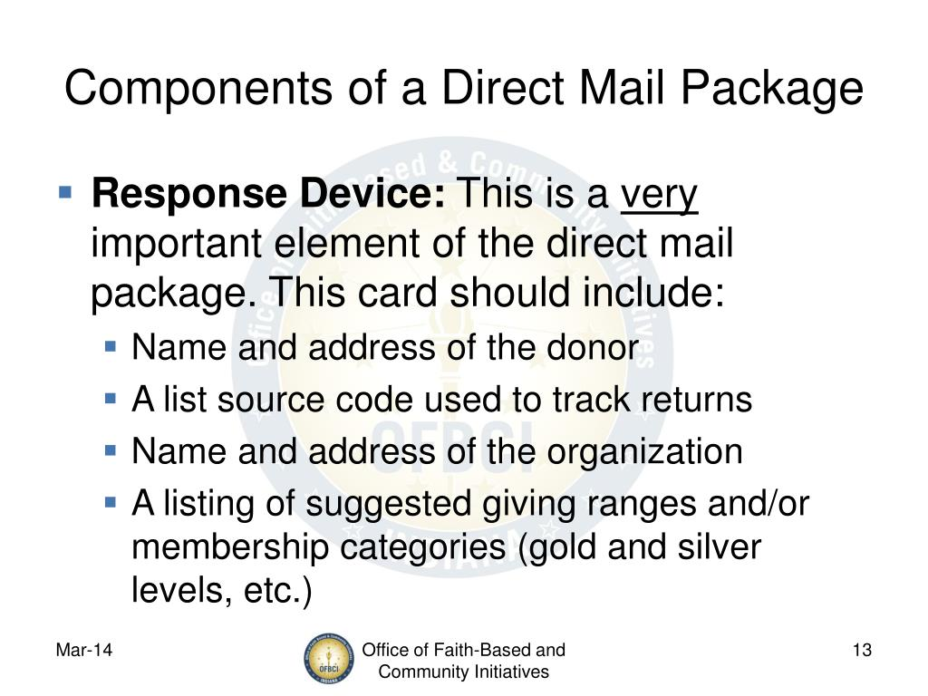 Components of a Direct Mail Package