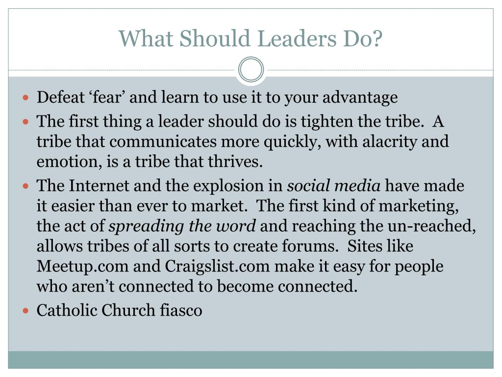 What Should Leaders Do?